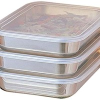 UchiCook 3-Piece Breading Trays, Silver
