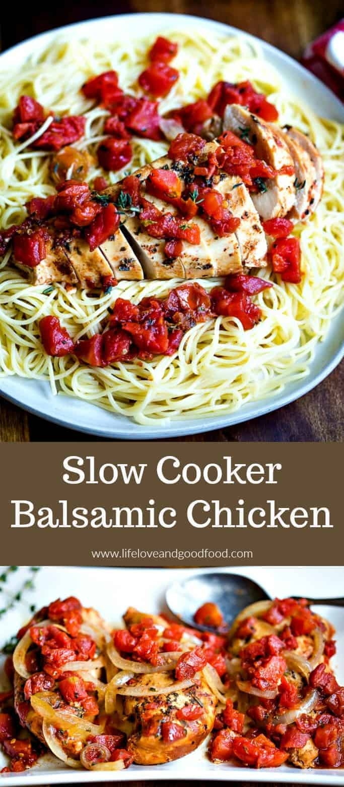 Slow Cooker Balsamic Chicken is an easy main dish that's no-fuss, healthy, and extremely tasty! Serve over angel hair pasta, zucchini noodles, or with a side of steamed veggies. #slowcookerrecipe #slowcookerchicken #balsamicchicken
