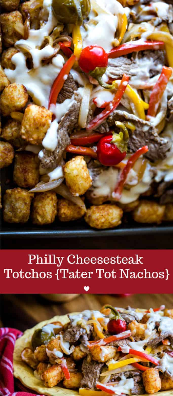 Philly Cheesesteak Totchos {tater tot nachos} with ribeye steak, sautéed sweet onions & bell peppers, and creamy Swiss cheese sauce.That, my friends, is serious party fare. #appetizer #footballpartyfoood #foracrowd #maindish #beeftotchos