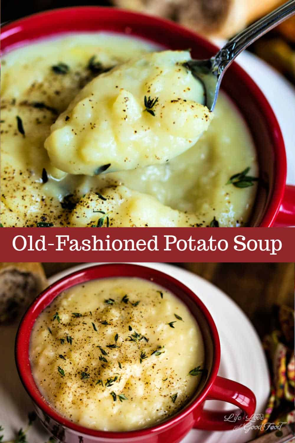 This lightened up version of Old-Fashioned Potato Soup is one creamy, delicious bowl of comfort food that won't leave you feeling guilty. Made from scratch and flavored with yellow onions sautéed in butter, this easy potato soup recipe only takes 30 minutes start to finish.