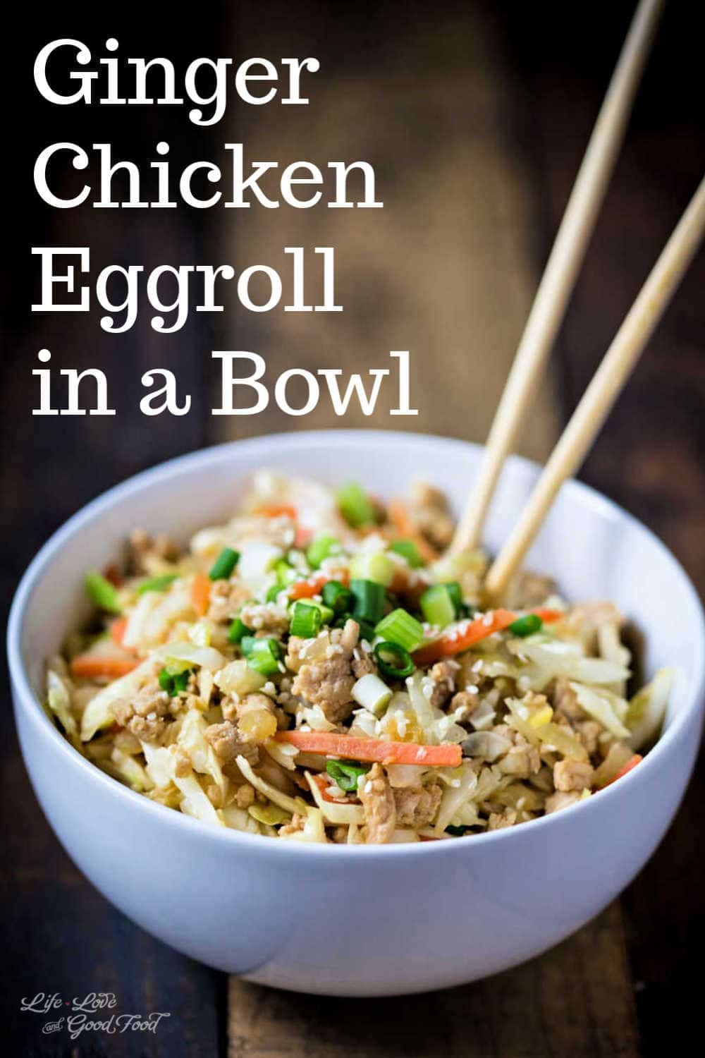 Fresh ginger adds a spicy, earthy flavor to this simple one-bowl meal that's ready in just 30-minutes prep-to-finish. Low carb and tasty, Chicken Egg Roll Bowls are perfect for busy weeknights. This deconstructed egg roll is made with ground chicken, shredded cabbage (coleslaw mix), julienned carrots, onions, garlic, and fresh ginger root. Add a splash of sesame oil and soy sauce and garnish with sliced green onions or sesame seeds.