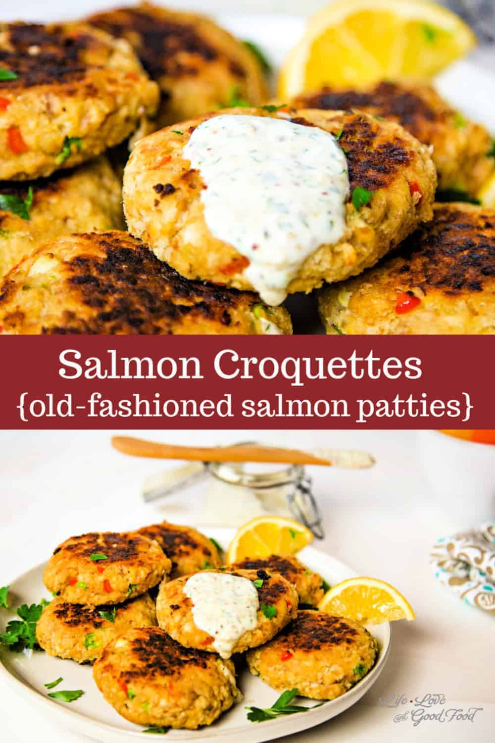 A Southern classic, Salmon Croquettes are prepared with cooked salmon —canned or fresh — and Panko breadcrumbs and are shaped into patties and pan-fried until flaky on the inside and crispy on the outside. Season these fish cakes with grated onion, red bell pepper, and garlic and serve them with a tangy homemade tartar sauce. This easy dinner recipe is fast, delicious, and easy on your budget! You can even serve salmon croquettes on buns as salmon burgers. How's that for a healthy meal idea?