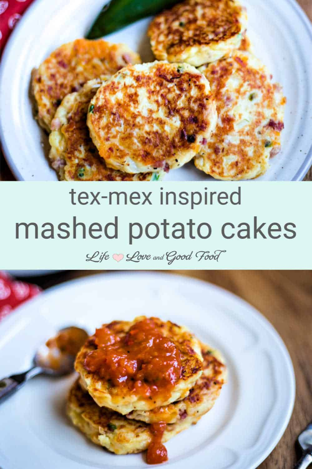 Mashed Potato Cakes loaded with spicy jalapeño peppers, onions, diced ham, and cheese transform leftover mashed potatoes into an amazing side dish. Fried until they're golden brown and crispy, serve these Tex-Mex inspired potato cakes topped with fresh tomato salsa or sour cream.