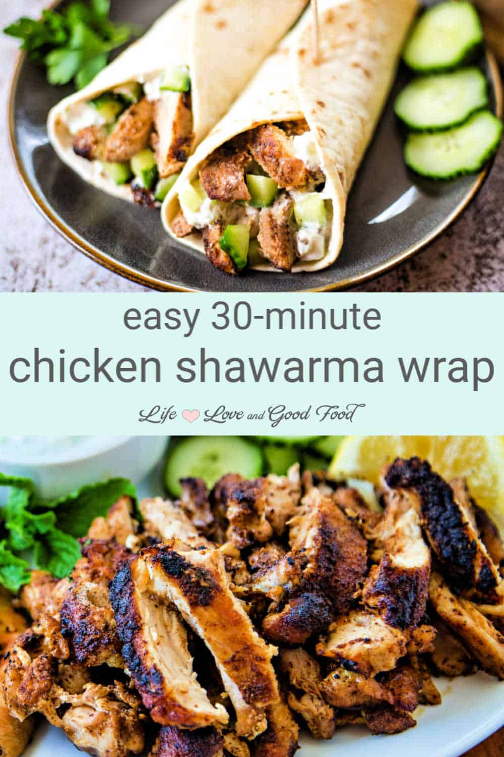 You can skip the marinating time with this Chicken Shawarma Wrap recipe. Simply combine savory pantry spices with minced garlic to create a rub for boneless chicken thighs. Then, sear the chicken in a hot cast iron skillet to create a nice char and allow the spices to bloom and deepen the flavor. Slice and serve the chicken shawarma on naan, pita bread, or even tortillas with cucumbers, arugula, and cucumber sauce with a squeeze of fresh lemon. This makes a delicious and EASY meal.