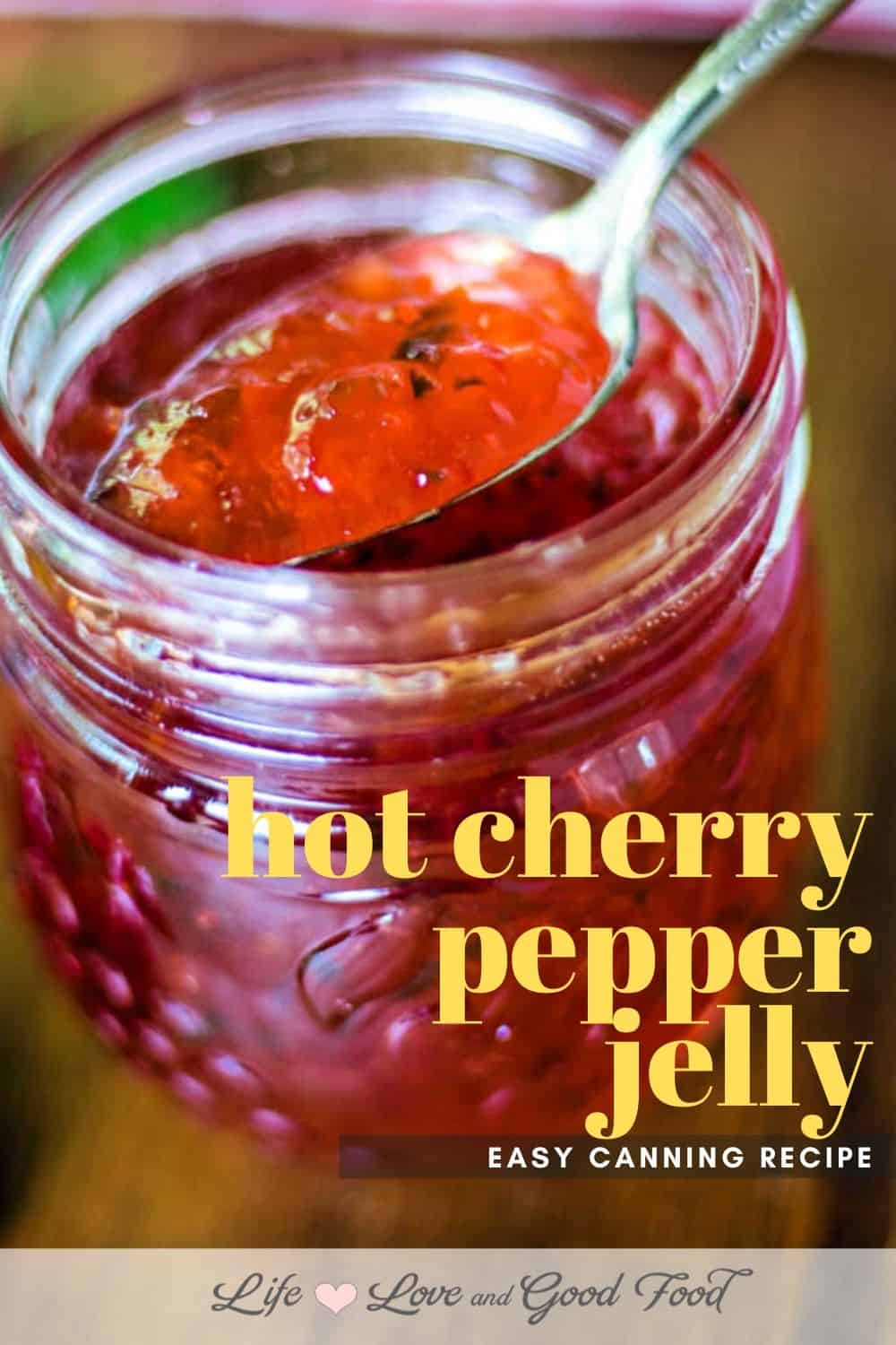 Made with fresh cherries, red bell pepper, and jalapeño peppers, Hot Cherry Pepper Jelly is deliciously sweet and spicy hot. Serve it on toast or scones, use it to make easy cream cheese appetizers, or even as a cheese board accompaniment.
