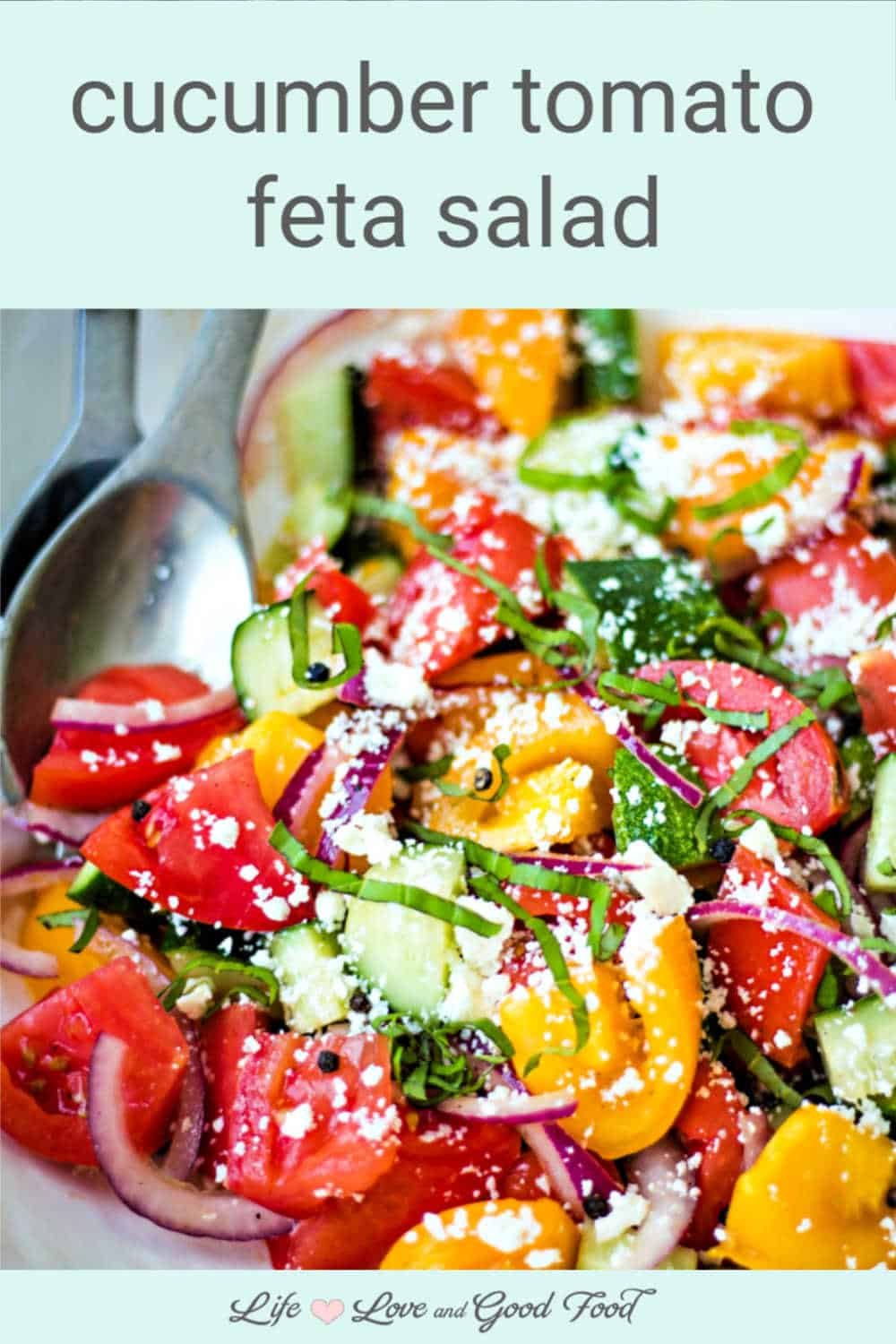 Simple ingredients combine to create amazing flavor in this fresh and easy Cucumber Tomato Feta Salad. Fresh crisp cucumbers, ripe sweet tomatoes, red onion, and tangy Feta cheese get tossed with a splash of extra-virgin olive oil and red wine vinegar in this delicious 15-minute Summer salad. It's the perfect side dish for picnics, outdoor barbecues, or for whenever you want something fresh and delicious.