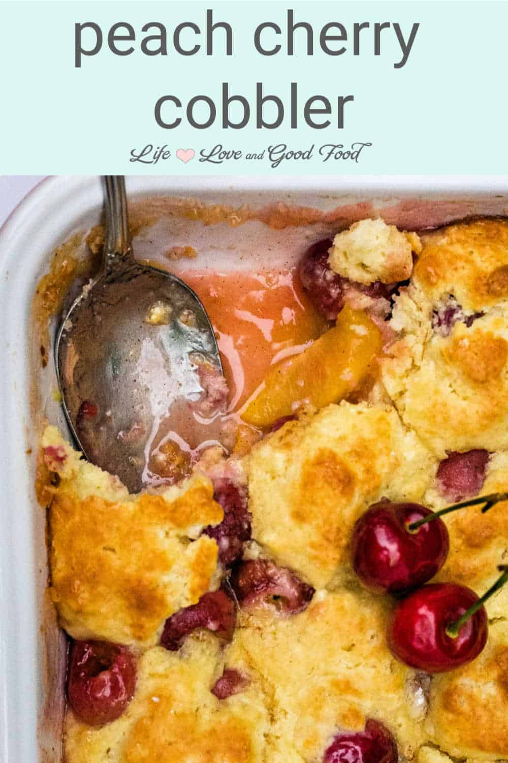 Made with fresh peaches and sweet Bing cherries, Peach Cherry Cobbler with Sweet Biscuit Topping is the perfect homemade Summer dessert. Best served warm with a scoop of vanilla ice cream, this easy made-from-scratch cobbler recipe is baked with a sweet drop biscuit topping on top of slices of fresh peaches and pitted cherries.