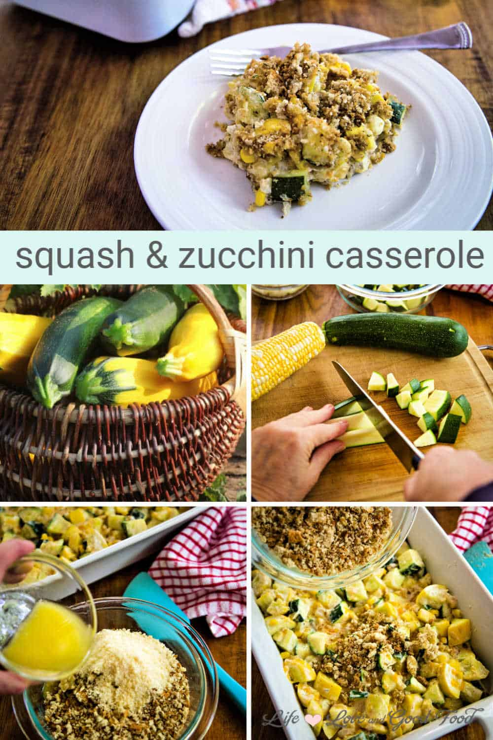 Squash and Zucchini Casserole is a delicious Southern side dish made with yellow squash, zucchini, and fresh corn with a crunchy breadcrumb and Parmesan cheese topping. Served hot and bubbly, this cheesy casserole is the perfect way to use up an abundance of Summer squash.