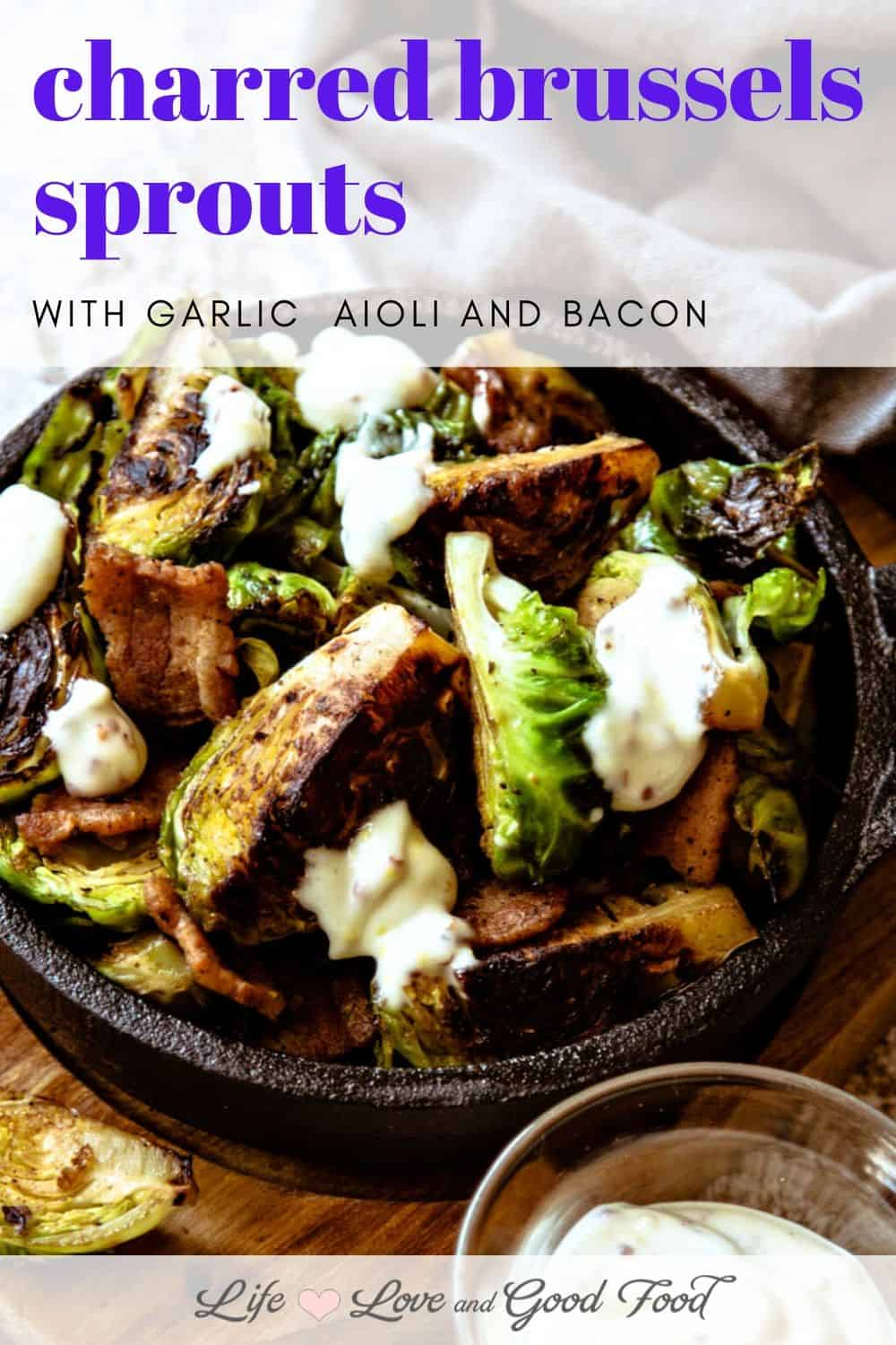 Cook Charred Brussels Sprouts with the cut side down in a hot cast iron skillet to create a buttery, toasty sear, then toss them with bacon and drizzle with zesty garlic aioli for an irresistible hot appetizer. OH MY YES!