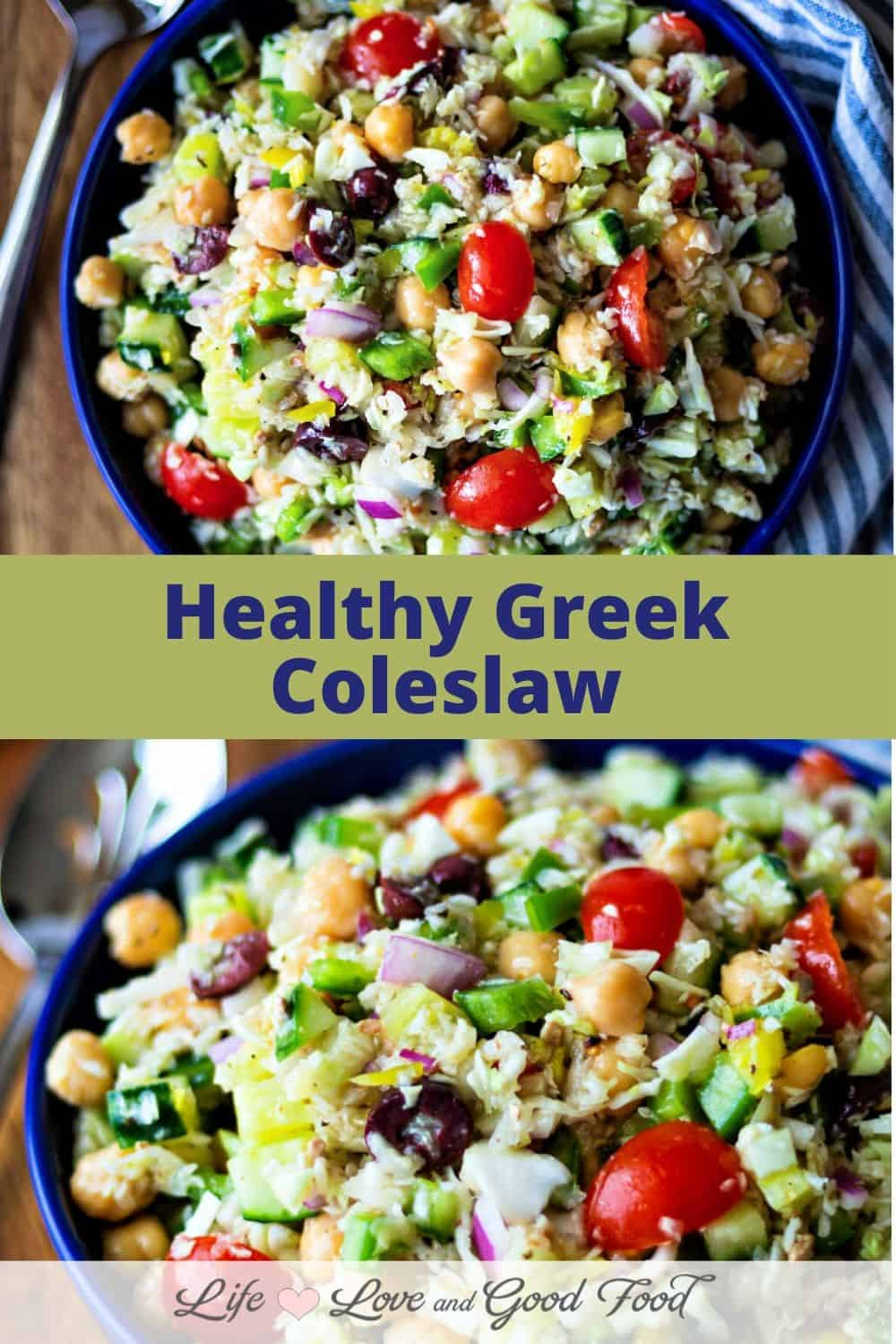 Healthy Greek Coleslaw is nothing like the classic coleslaw you're accustomed to having at Summer barbecues and cookouts. Skip the heavy mayonnaise dressing, this style coleslaw is tossed with a lemony Greek dressing. Green cabbage, cucumber, tomatoes, red onions, and bell pepper get tossed together with chickpeas, kalamata olives, and peperoncini for a big bowl of deliciousness. #coleslaw #sidedish #cabbage