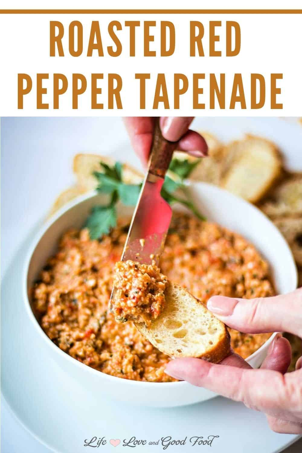 Roasted Red Pepper and Artichoke Tapenade, or roasted red pepper dip, is a tasty 10-minute appetizer bursting with Mediterranean flavors. Simply combine roasted red bell peppers and artichoke hearts with capers, Parmesan cheese, and other seasonings until the mixture is the consistency of an olive tapenade. Roasted Red Pepper and Artichoke Tapenade served with toasted baguette slices, warm pita bread, or crackers makes a deliciously easy party platter.