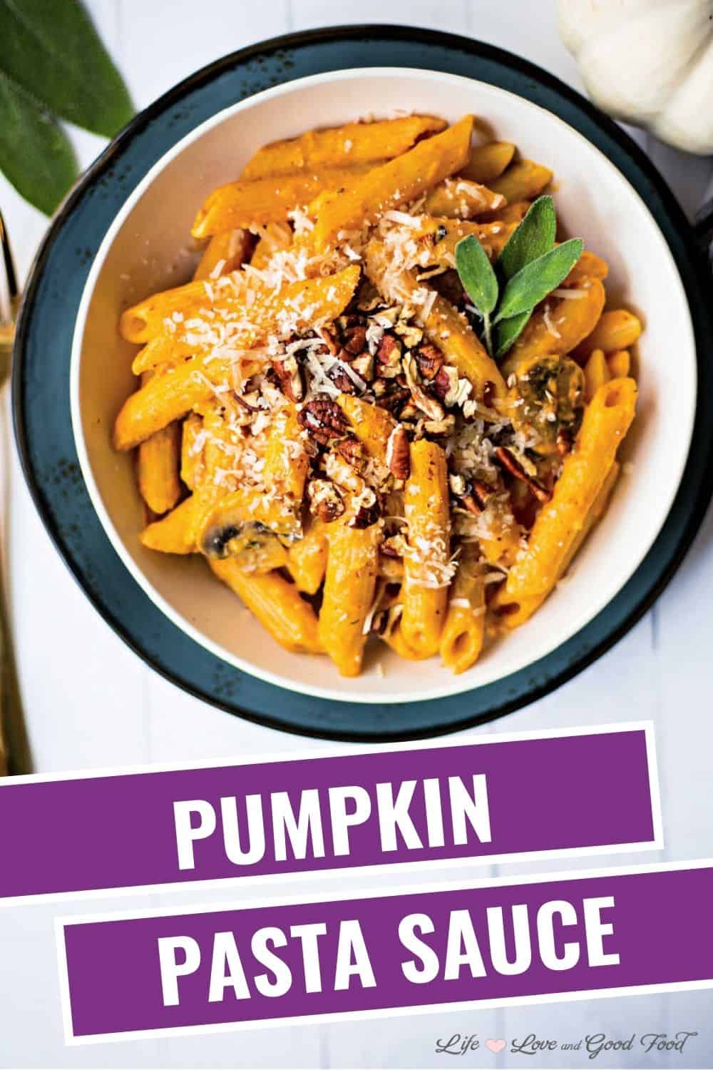 Simple, but elegant Pumpkin Pasta Sauce with Mushrooms and Sage is served tossed with Garofalo®  penne ziti rigate. #ad Garnished with even more fresh sage, Parmesan cheese, and toasted pecans, this savory pasta dish has a rich, creamy texture that's bursting with sophisticated flavor. This healthy meatless pasta recipe gets its creaminess from canned pumpkin purée and a bit of cream cheese—not a lot of heavy cream. Add mushrooms, garlic, and fresh sage for a delicious pumpkin sauce that's perfect for the fall season! Find all of the ingredients for this recipe at your local Ingles.  #pasta #pumpkin #PastaGarofaloUSA