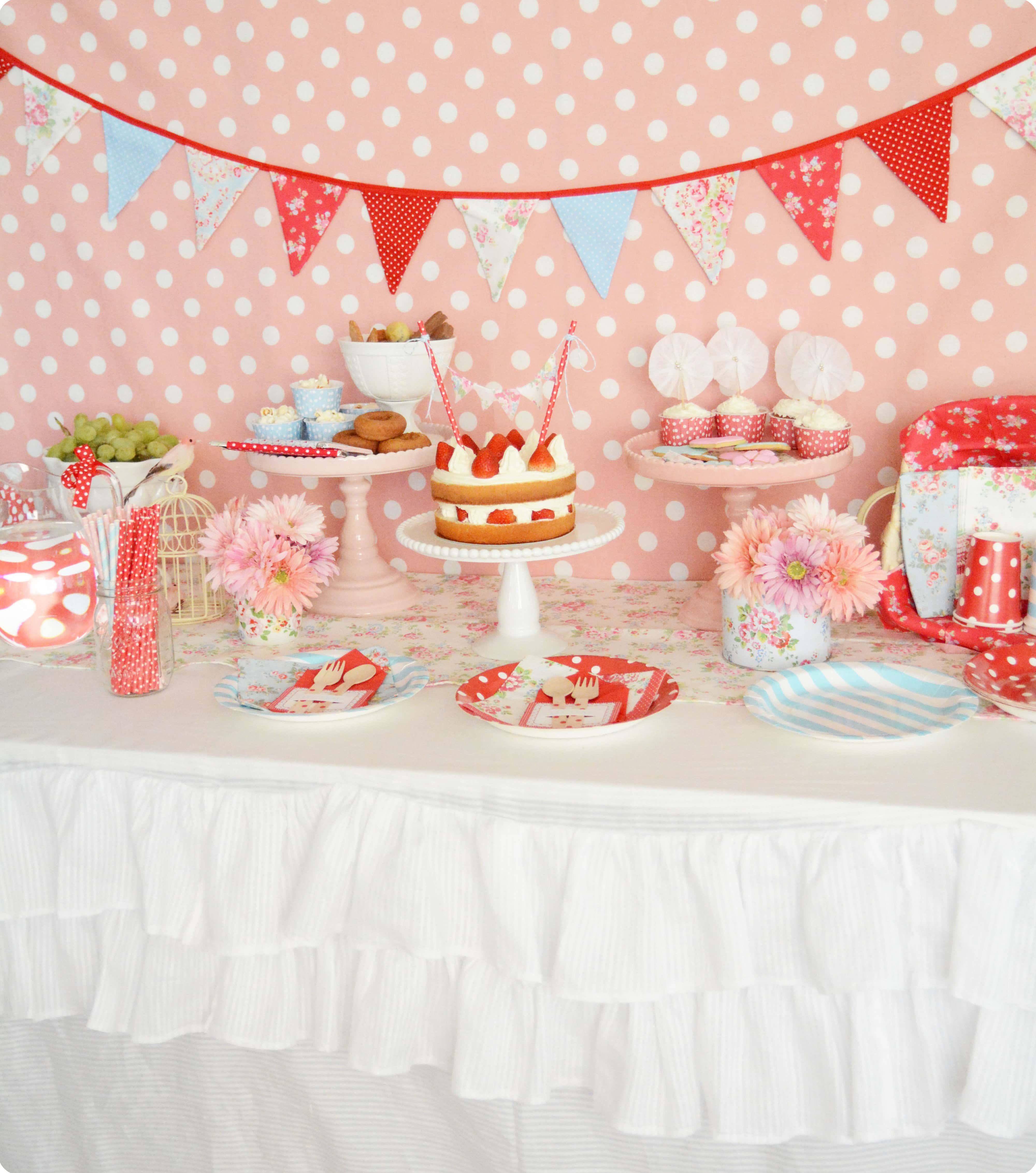 ポップカラーのキャスキッドソン風お誕生日会 : Cath Kidston Themed Party