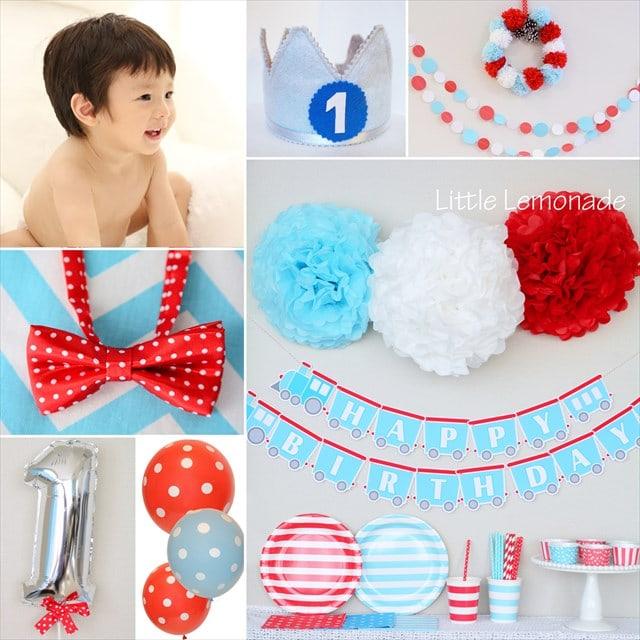 男の子のファーストバースデー コーディネート 赤+青 : Boy's first birthday party plan Red x Blue