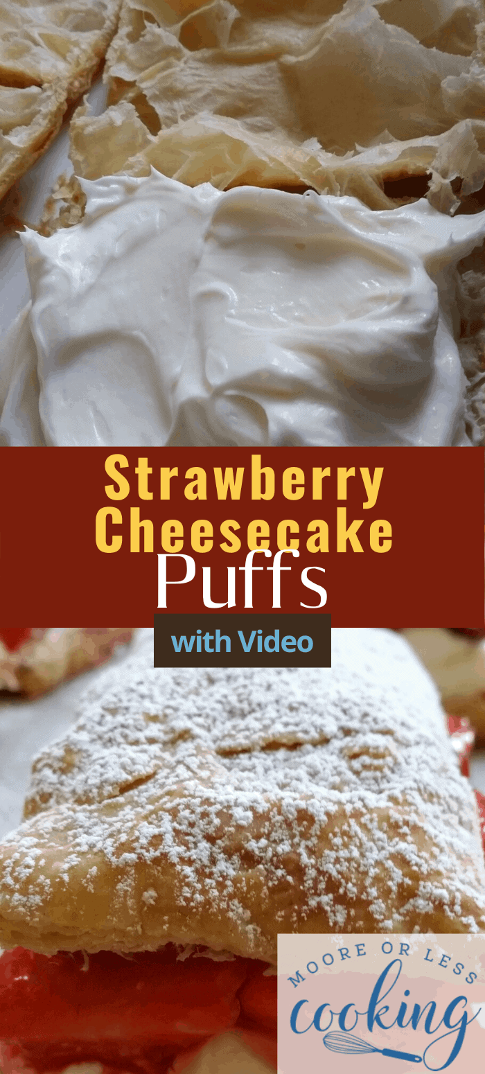 Strawberry cheesecake puffs combine the best of cheesecake and pastry puffs. These delicious treats are rich, flaky, buttery, and so good. via @Mooreorlesscook