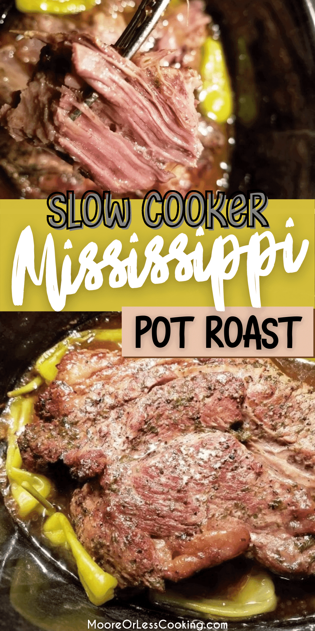 The easiest, most delicious Beef Pot Roast that you make in your slow cooker! Only 7 ingredients are needed to make this incredible roast! #beefpotroast #slowcooker #crockpot #mooreorlesscooking via @Mooreorlesscook