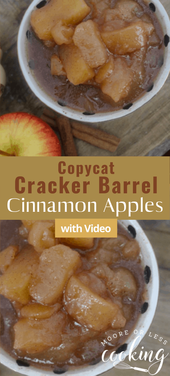 Copycat Slow Cooker Cinnamon Apples: Just dump all of the ingredients in the slow cooker for a delicious dessert or side dish. #mooreorlesscooking #slowcooker #apples #cinnamonapples via @Mooreorlesscook