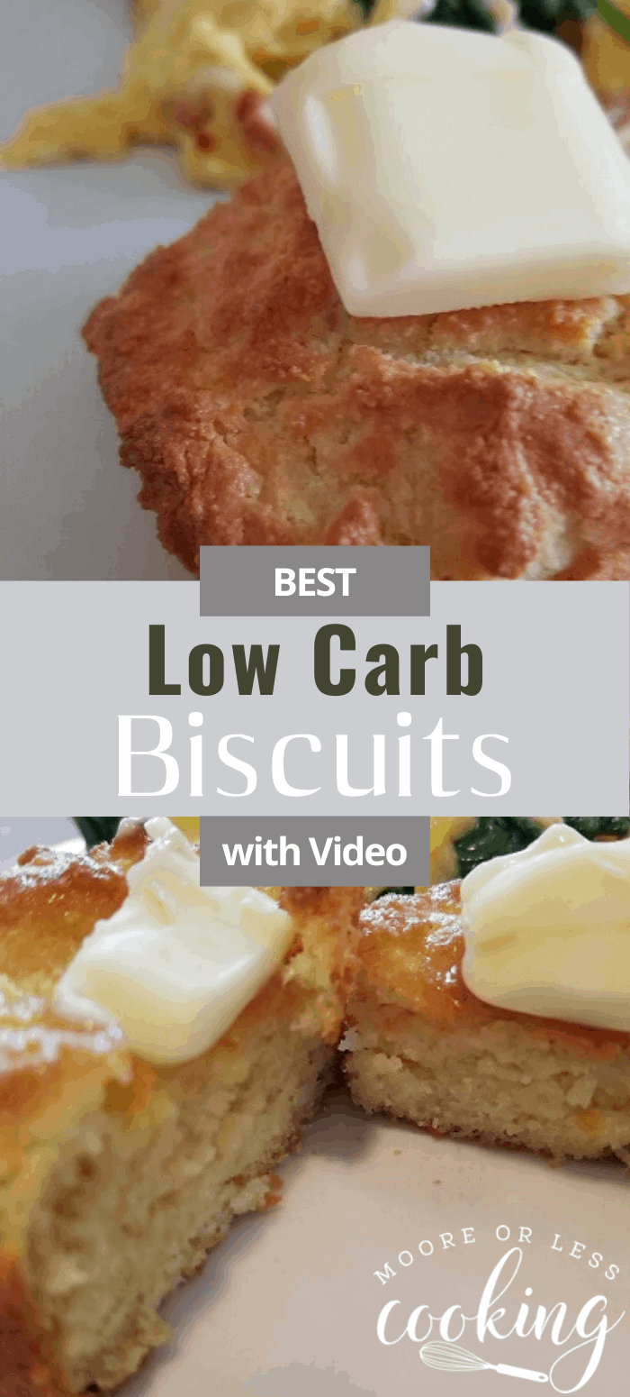 These Low Carb Biscuits are the perfect fluffy biscuit to enjoy with any meal. Fill with bacon, sausage, country ham, or fried chicken for the best breakfast biscuits with no guilt. #biscuits #lowcarb #keto #mooreorlesscooking via @Mooreorlesscook