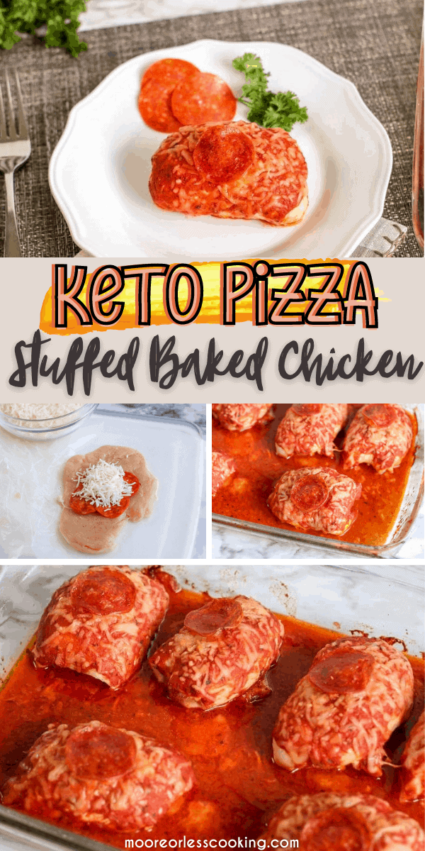 Keto Pizza Stuffed Chicken is all of the flavors of pizza and chicken but Low Carb Keto! #ketochicken #chicken #pizzastuffedchicken #lowcarb #mooreorlesscooking via @Mooreorlesscook