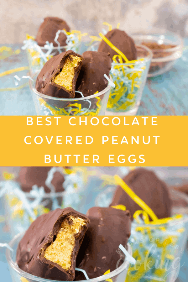 No-Bake Best Chocolate Covered Peanut Butter Eggs are one of the most popular desserts. Better than a Reese's Peanut Butter Cup. #mooreorlesscooking #nobake #Easter #chocolate #peanutbutter via @Mooreorlesscook