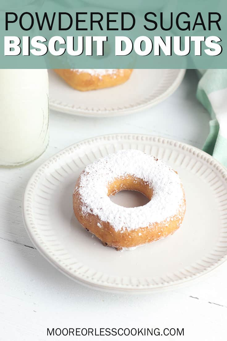 Powdered Sugar Biscuit Donuts. This simple donut recipe is one of the easiest ways to make your own donuts and you only need three ingredients to make them!#mooreorlesscooking #donuts #doughnuts #3ingredients #baking #recipes #dessert #sugar #powderedsugar #easyrecipe via @Mooreorlesscook