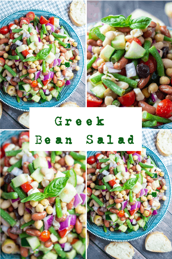 #ad This post is sponsored by the United Soybean Board through Kitchen PLAY. Greek Bean Salad has 4 types of beans, lots of veggies, feta cheese, and is topped with a light zesty dressing. Delicious as a side dish to a meal or even as lunch with toasted baguette or pita. #Greekbeansalad #soybeanoil #soy #vegetableoil #mooreorlesscooking via @Mooreorlesscook