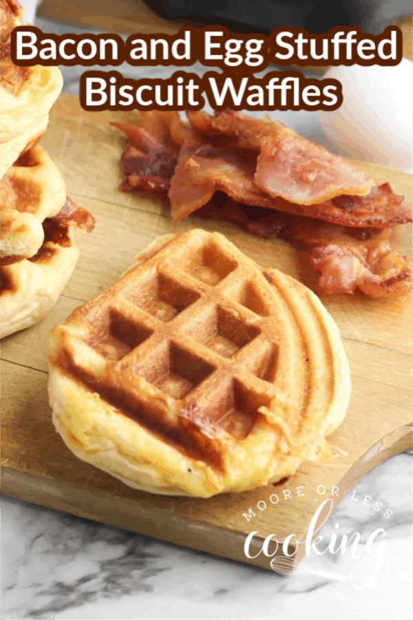 This fun recipe turns a classic bacon and egg biscuit sandwich into a savory waffle perfect for breakfast, brunch or brinner. via @Mooreorlesscook