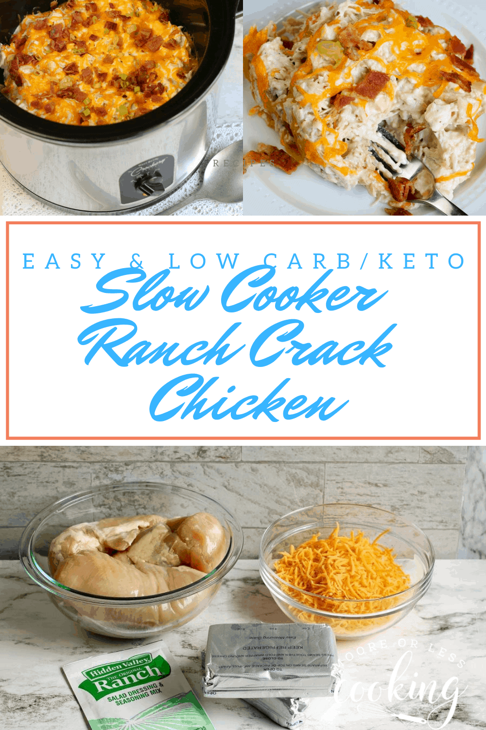 Slow Cooker Ranch Crack Chicken is incredibly delicious filled with favorites like bacon, chicken, and gooey cheese! via @Mooreorlesscook
