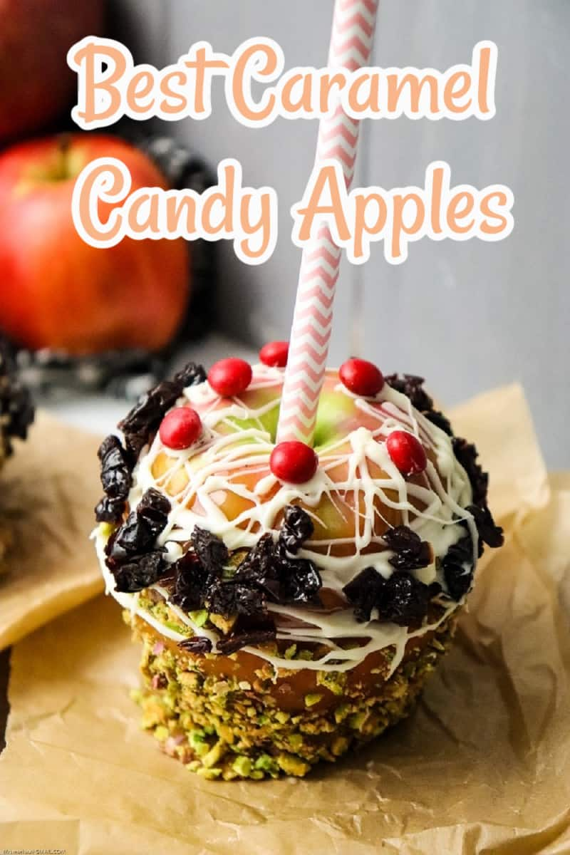 Apples dipped in glossy caramel and decorated with tasty toppings are one of fall's most delicious sweet treats! This easy recipe for Caramel Candy Apples is a great way to create gorgeous gourmet apples that are perfect for parties, holidays, and gifting. via @Mooreorlesscook