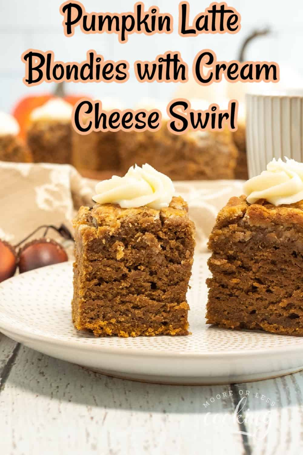 These delicious Pumpkin Latte Blondies with Cream Cheese Swirl add a touch of espresso plus the addition of sweetened cream cheese into the pumpkin batter. There's an outrageous holiday flavor in every bite! via @Mooreorlesscook