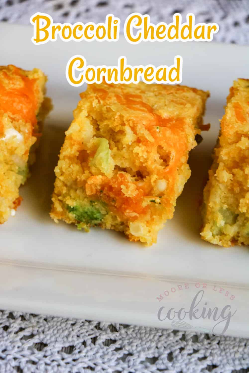 You'll love this savory and delicious recipe that takes the classic combination of broccoli and cheddar cheese and combines it with cornbread. This tasty Broccoli Cheddar Cornbread recipe is sure to become a family favorite. via @Mooreorlesscook