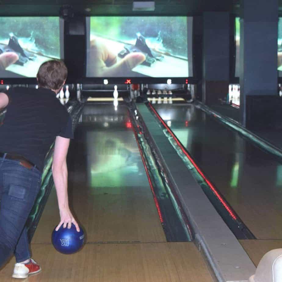 Playing bowling at Frames NYC