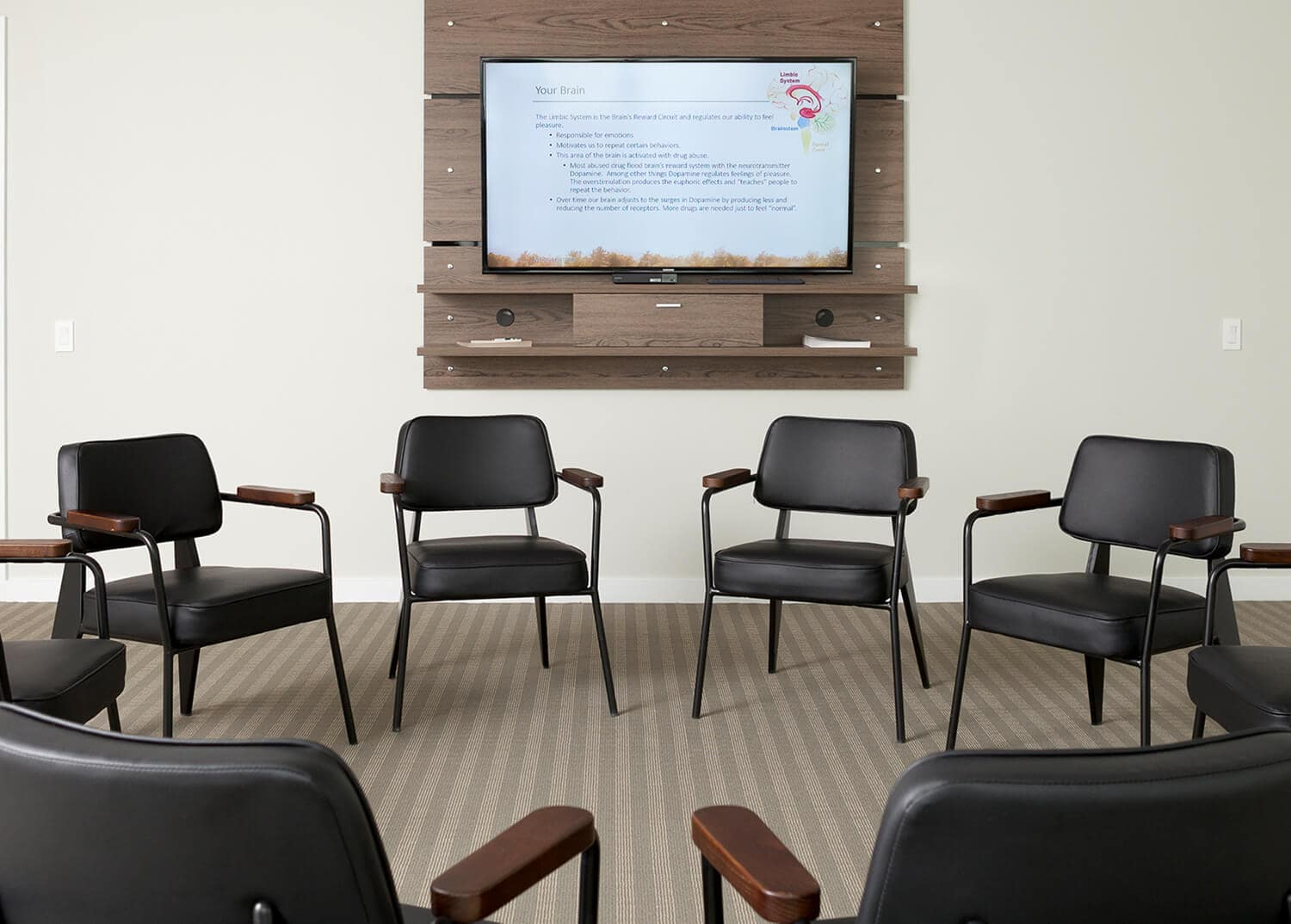 Professional-looking group therapy and counseling room at Mountainside Addiction Treatment Center in Wilton, CT.