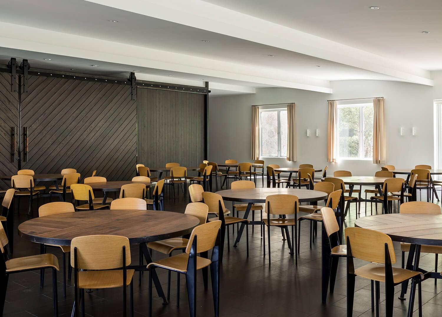Dining Hall- Large modern cafeteria at Mountainside Addiction Treatment Center in Connecticut.