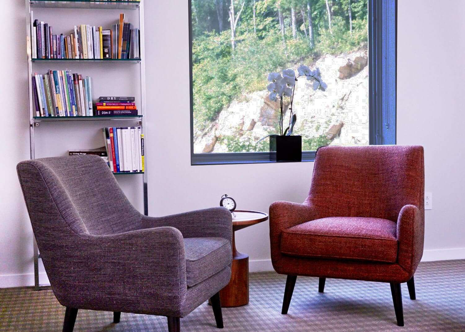 Cozy 1-on-1 counseling room at Mountainside Addiction Treatment Center in Connecticut.