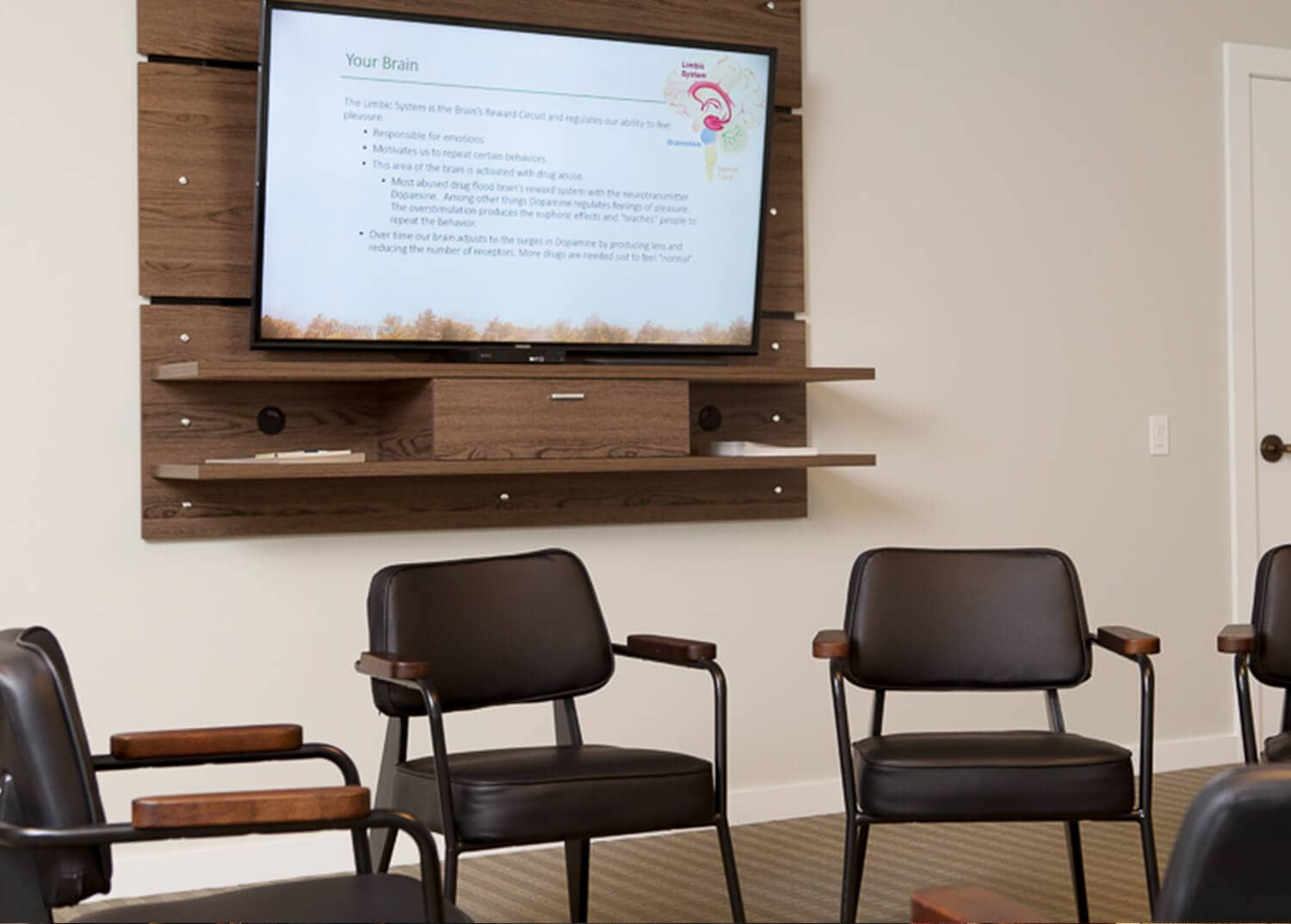 A group meeting and presentation room at Mountainside Addiction Treatment Center in Canaan, CT.