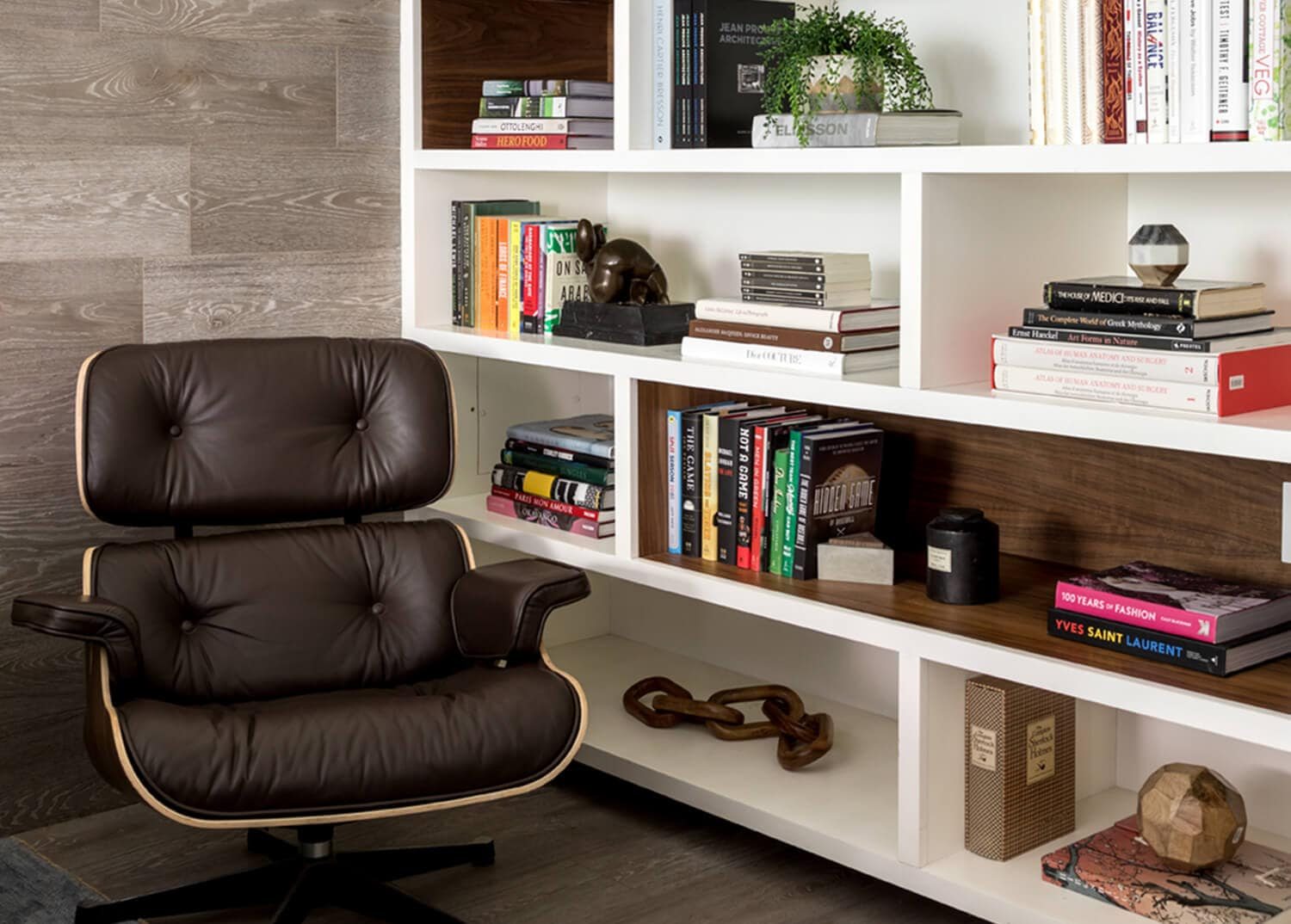A luxe leather reading chair in the Mountainside library and game room in Canaan, CT