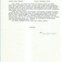 Brief Felsinger an Arleth 06.12.1969