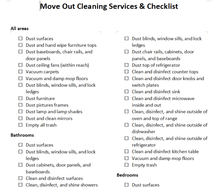Move Out Cleaning Checklist | Landlord & Tenant (Detailed ...