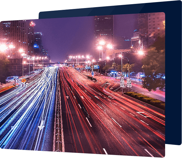 City traffic with blue and red light trails