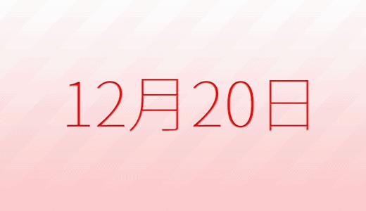 12月20日は何の日?記念日、出来事、誕生日占い、有名人、花言葉などのまとめ雑学