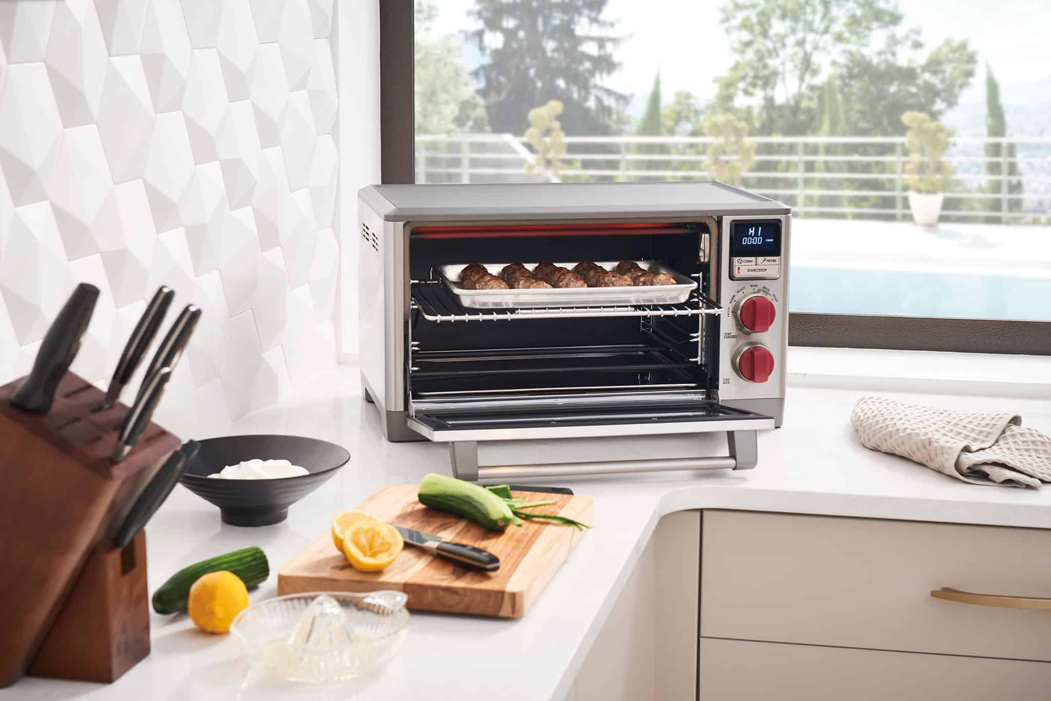 image of the Wolf Gourmet Countertop oven in use