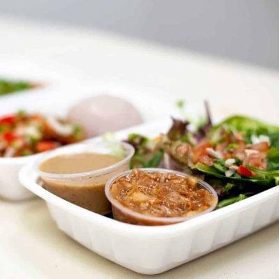 A vegan meal from Next Stop Vegan's meal prep service