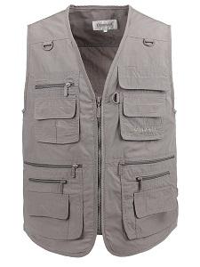 2. Lusi Mdam Men's Poplin Outdoors Travel Sports Pockets Vest