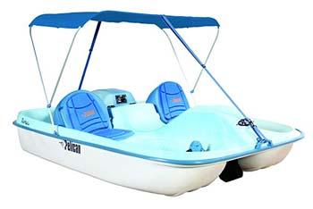 3. Pelican Rainbow E-Deluxe Pedal Boat, Fade Blue/White