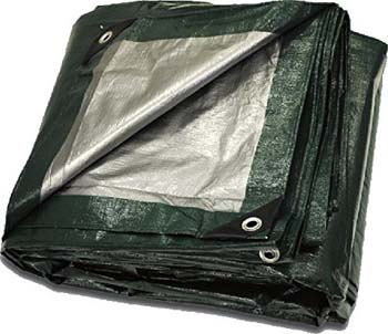 6. 20' x 30' Heavy Duty Green Silver Poly Tarp