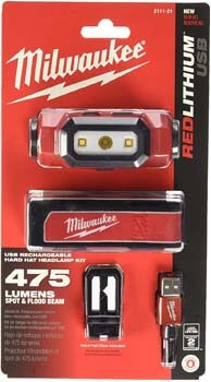 7. Milwaukee Electric Tools 2111-21 USB Rechargeable Headlamp, Red
