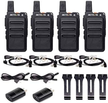 6. Retevis RT19 Walkie Talkies for Adults Rechargeable UHF FRS 22 Channel VOX Light Thin Two Way Radios Long Range