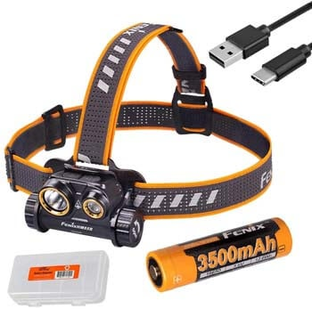 2. Fenix HM65R 1400 Lumen Spot and Flood Dual Beam USB-C Rechargeable Headlamp