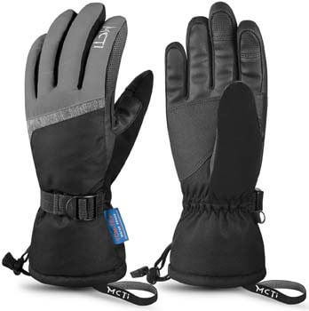 3. MCTi Ski Gloves, Winter Waterproof Snowboard Snow 3M Thinsulate Warm Touchscreen Cold Weather Women Gloves Wrist Leashes